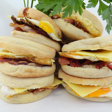 EGG AND BACON ENGLISH MUFFINS from devour it catering