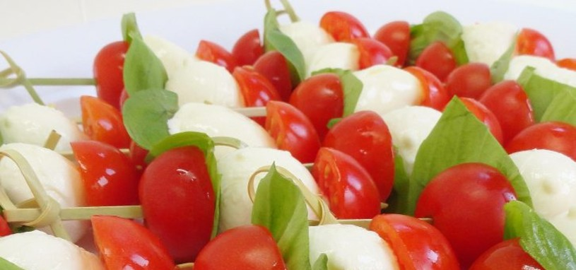 Tomato basil and bocconcini skewers